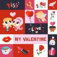 super süße Valentinstag Mosaik Dekoration