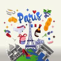 super süße Pariser Kulturreisekugel vektor