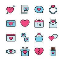 Alla hjärtans Ikonuppsättning. glad Alla hjärtans dag med färglinje stil. vektor