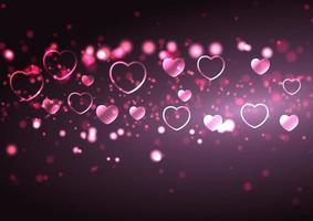 Alla hjärtans dag bakgrund med hjärtan och bokeh lampor vektor