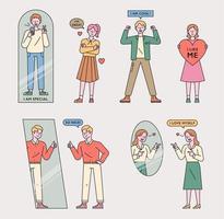 Menschen, die eine positive Einstellung haben. vektor