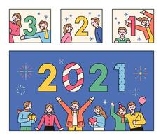 Leute, die den Countdown 2021 machen.