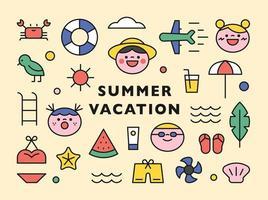 söt sommar strand ikoner samling.