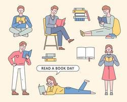 samling av människor som läser böcker.