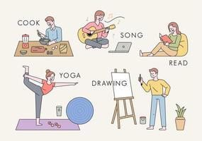 människor som gör hobbyer. vektor