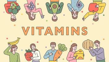 folk banner rekommenderar hälsosam mat. vektor