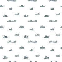 nahtloses Muster des niedlichen Gekritzelwolkenkindes im skandinavischen Stil. Vektor Hand gezeichnete Kinder nordischen Tapeten, Urlaub