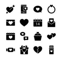 Valentinstag Icon Set. Glücklicher Valentinstag mit Glyphenstil. vektor