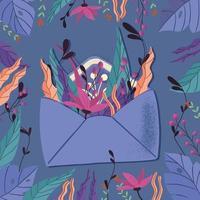 Umschlag mit Liebesbrief. bunte Hand gezeichnete Illustration mit Handbeschriftung für glücklichen Valentinstag. Grußkarte mit Blumen und dekorativen Elementen.
