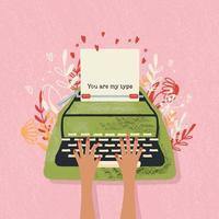 skrivmaskin och kärleksnot med handbokstäver. färgrik handritad illustration för glad alla hjärtans dag. gratulationskort med blommor och dekorativa element.