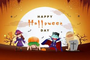 glad halloween dag bakgrund med en fest med söta monster vektor