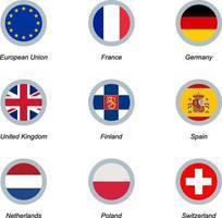 Satz runder Symbole mit Flaggen vektor