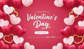 Happy Valentinstag Hintergrund oder Banner mit schönen Elementen. vektor