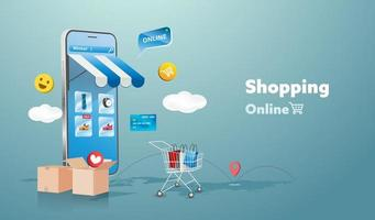 Online-Shopping-Shop auf Website und Handy-Design. Smart Business Marketing-Konzept. horizontale Ansicht. Vektorillustration.