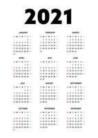 Kalender 2021 isoliert auf weißem Hintergrund. Die Woche beginnt am Sonntag. Vektorillustration.