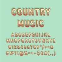 countrymusik vintage 3d vektor alfabetuppsättning