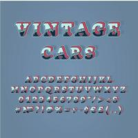 vintage bilar rubrik vintage 3d vektor alfabetuppsättning