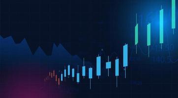 affärsdiagram över aktiemarknadsinvesteringar på blå bakgrund vektor