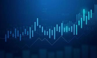 Geschäftsdiagramm der Börseninvestition auf blauem Hintergrund