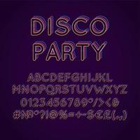 Disco Party Vintage 3D Vektor Alphabet Set