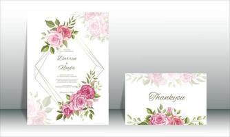 vacker bröllopsinbjudningskortsmalluppsättning vektor