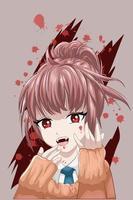anime stil vacker flicka har huggtänder med mörkt tema vektor