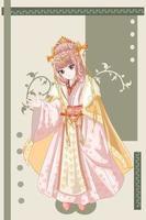 schöne Kaisergemahlin im Anime-Stil der Illustration des alten Königreichs vektor