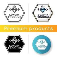 Luxusproduktikone. lineare Schwarz- und RGB-Farbstile. Hochwertiger Schmuck, teures Produkt. Juwelier Logo. elegantes Emblem mit isolierten Vektorillustrationen des glänzenden Diamanten