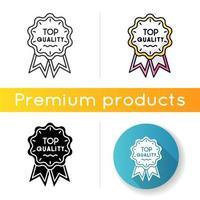 Symbol von höchster Qualität. lineare Schwarz- und RGB-Farbstile. Markenwert, Konsum. Premium-Waren- und Servicegarantie. Luxusmarke, prestigeträchtige Statusabzeichen isolierte Vektorillustrationen