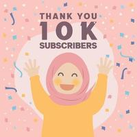 süße glückliche muslimische Mädchen danke 10k Follower Design feiern