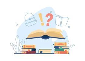 offenes Buch mit Fragezeichen Bildungsdesign vektor