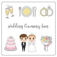 Hochzeitszeremonie-Ikonensatzvektor. vektor
