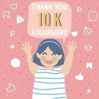 glad och tacksam söt tjej firar tack 10 000 följare vektor