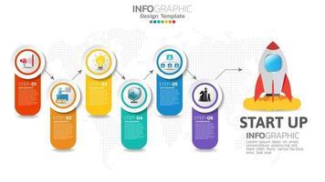 6 Schritte Start-Infografiken mit Raketenstart. Geschäfts- und Finanzkonzept. vektor