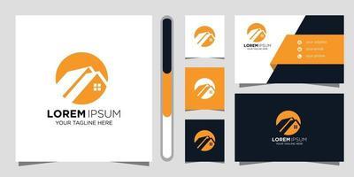 Immobilien-Logo-Design und Visitenkarte vektor