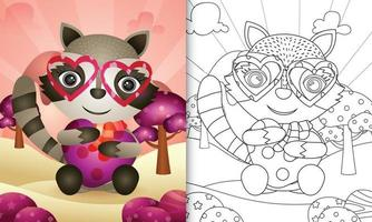 Malbuch für Kinder mit einem niedlichen Waschbären, der Herz für Valentinstag umarmt