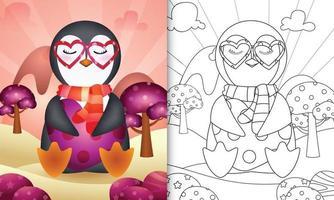 Malbuch für Kinder mit einem niedlichen Pinguin, der Herz zum Valentinstag umarmt