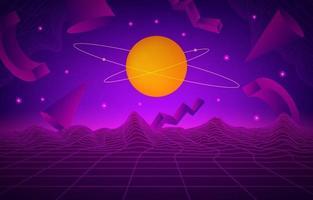 abstrakt retro futurism med lila bakgrund vektor