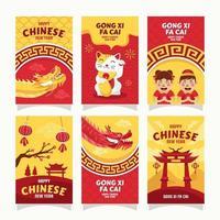 kinesiska nyår gratulationskort vektor