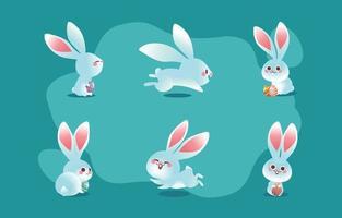 niedliches Osterweißhasen-Kaninchen-Charakterkonzept vektor