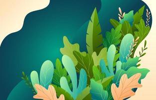 söt blommig med grön bakgrund vektor