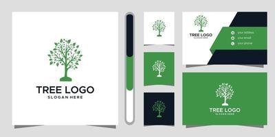 trädlogotypdesign och visitkort vektor