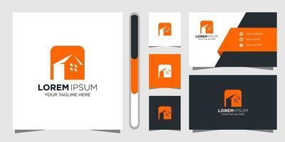 fastighetslogotypdesign och visitkort vektor