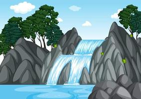 skog bakgrund scen med vattenfall vektor
