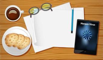 Draufsicht des Bürotisches mit leerem Papier und Büroobjekt
