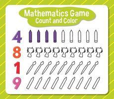 Anzahl der Mathematikspiele und Farbarbeitsblatt für Schüler vektor
