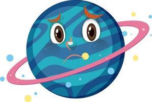 Saturn-Zeichentrickfigur mit enttäuschtem Gesichtsausdruck auf weißem Hintergrund vektor