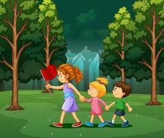 scen med barn som vandrar i skogen vektor