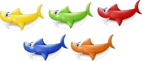 uppsättning av många leende söt hajtecknad karaktär isolerad på vit bakgrund vektor