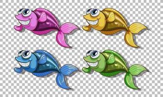 Satz von vielen Fischkarikaturcharakter lokalisiert auf transparentem Hintergrund vektor